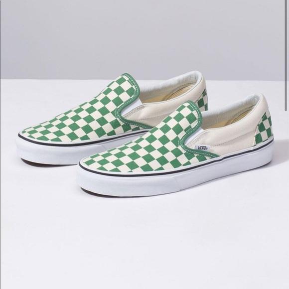 Vans Shoes | Green Checkered Vans Size